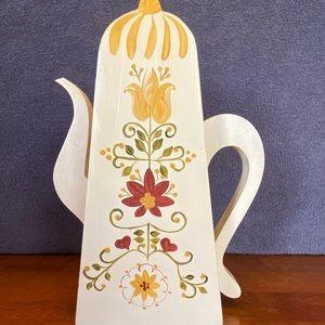 Vintage wooden teapot silk flower vase